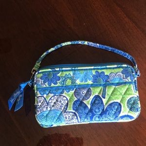 Green and blue zipped wallet